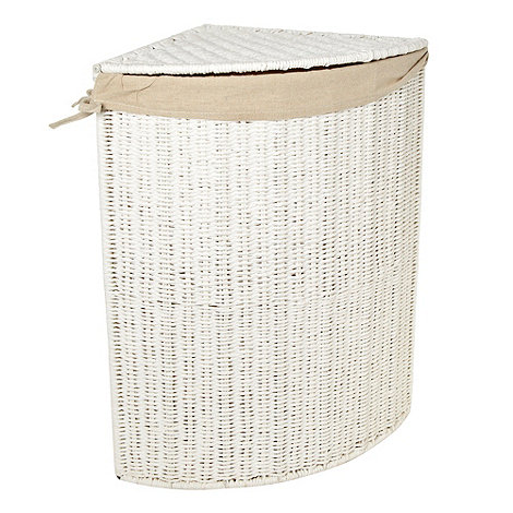 Home Collection - White rope corner laundry basket