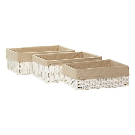 Debenhams - Set of three white rope baskets
