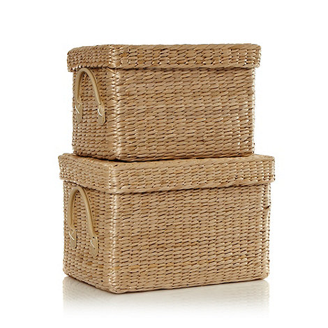 Debenhams - Set of two natural closed baskets