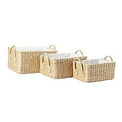 Debenhams - Set of three differently sized rush baskets