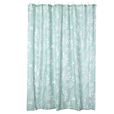 Home Collection - Turquoise bird printed shower curtain