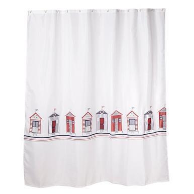 White 180 X 180cm Beach Huts Shower Curtain Shower