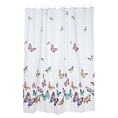 Home Collection - White butterflies shower curtain