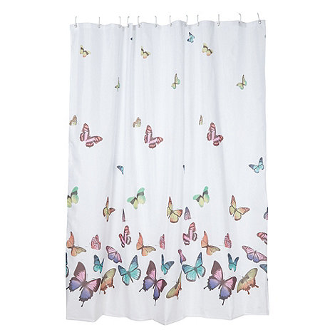 home collection white butterflies shower curtain debenhams