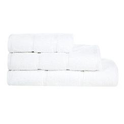 The Fine Linens Company - Designer white textured stripe towel