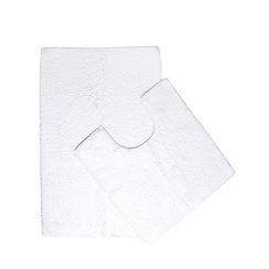 Debenhams - White bathmat and pedestal mat set
