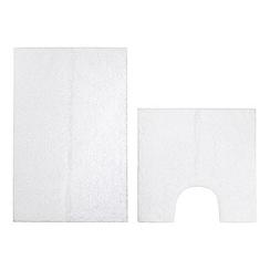 The Fine Linens Company - White striped bathmat and pedestal mat set
