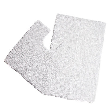 Debenhams - White chunky looped bath mat and pedestal set