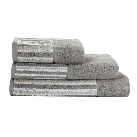 Jeff Banks Home - Grey striped border cotton towels