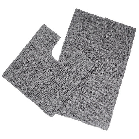 J by Jasper Conran - Designer grey chunky looped bath and pedestal mat set