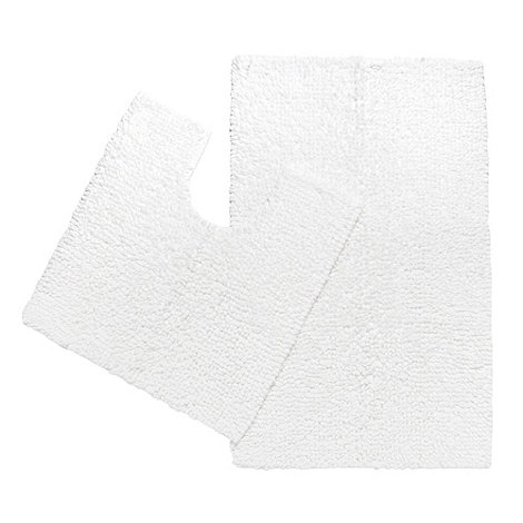 J by Jasper Conran - Designer white looped cotton bathmat set