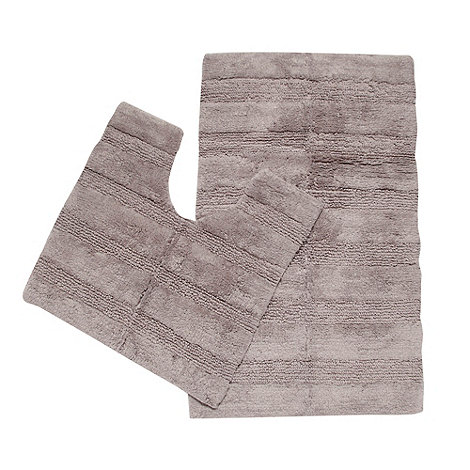 The Fine Linens Company - Silver textured striped pedestal and bathmat set
