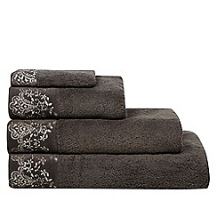Star by Julien MacDonald - Dark grey lace embroidered cotton towels