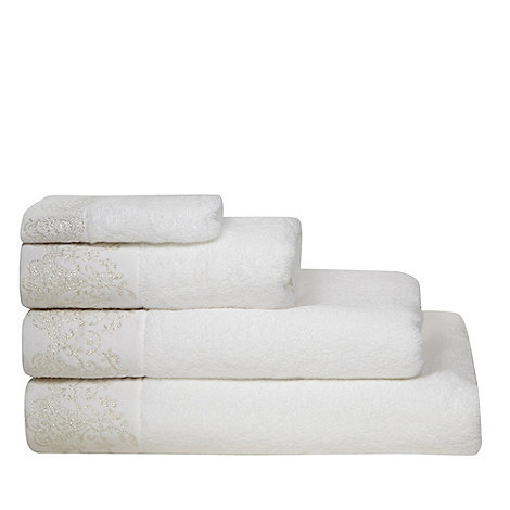 Star by Julien Macdonald - White lace embroidered cotton towels