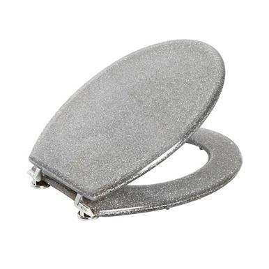 Designer Silver Glitter Toilet Seat Bathroom Accessories