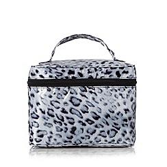 Star by Julien MacDonald - Designer grey snow leopard print cosmetics bag