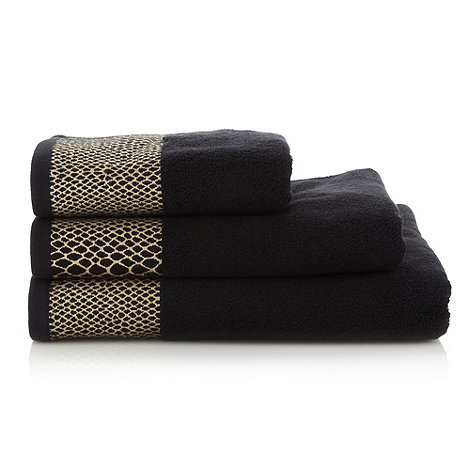 Star by Julien Macdonald - Black snakeskin embellished cotton towels