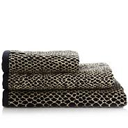 Designer black snakeskin patterned towel