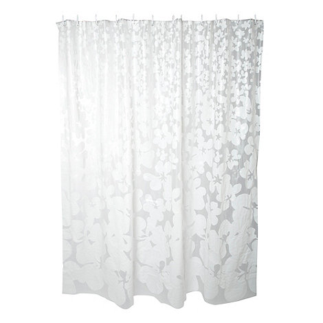 Home Collection Basics - White opaque floral print shower curtain