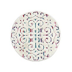 Butterfly Home by Matthew Williamson - Designer white swirl round bath mat