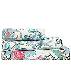 Butterfly Home by Matthew Williamson - Silver coloured peacock print cotton towels