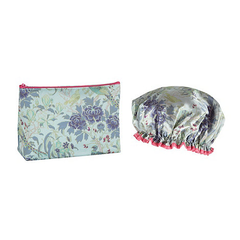 Butterfly Home by Matthew Williamson - Turquoise peacock printed shower cap and wash bag