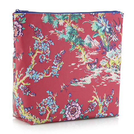 Butterfly Home by Matthew Williamson - Designer pink large blossom printed wash bag
