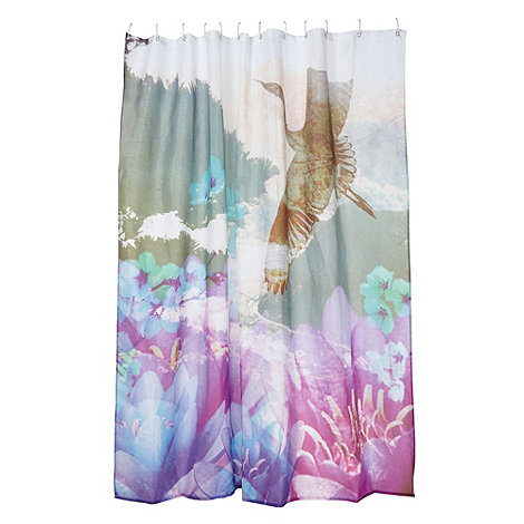 Butterfly Home by Matthew Williamson - Designer purple bird shower curtain
