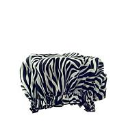 Zebra print PEVA shower cap
