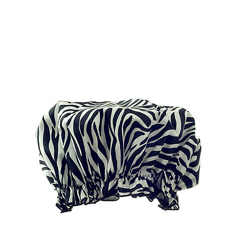 Hydrea London - Zebra print PEVA shower cap