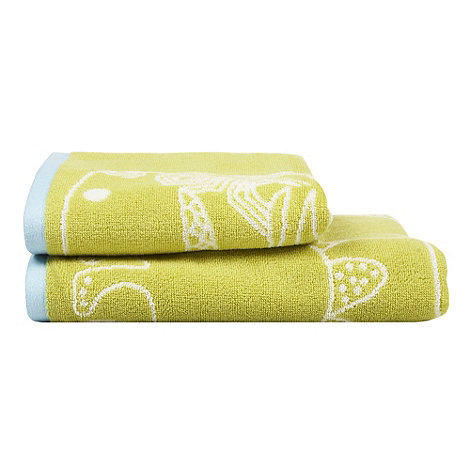 Harlequin - Green dinosaur print cotton towels