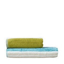 Scion - Blue and green striped cotton towels