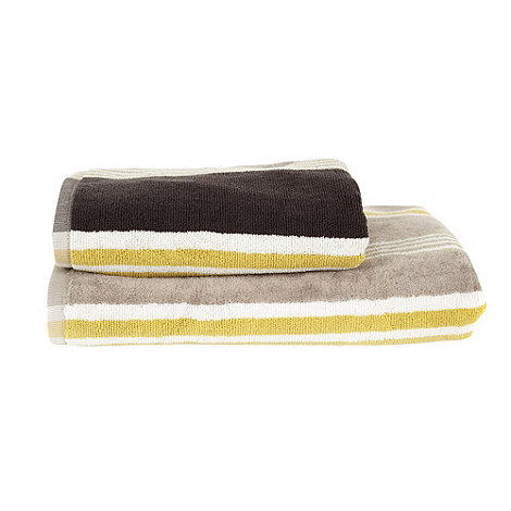 Scion - Grey and yellow striped cotton towels