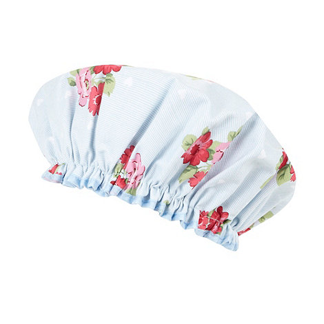At home with Ashley Thomas - Light blue flower and hearts shower cap