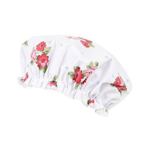 At home with Ashley Thomas - White flower and hearts shower cap