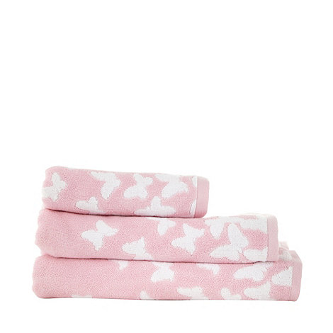 At home with Ashley Thomas - Pale pink butterfly print cotton towels