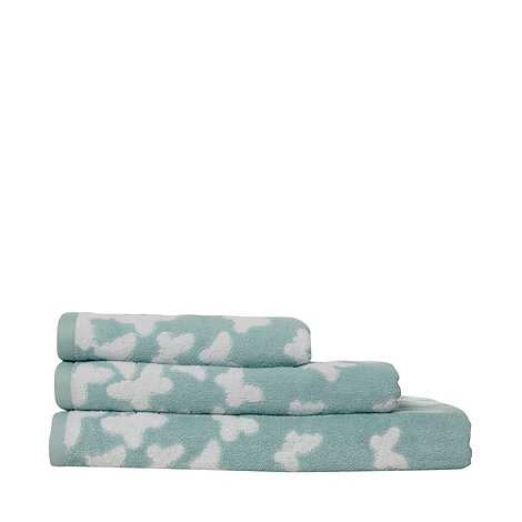At home with Ashley Thomas - Pale green butterfly print cotton towels