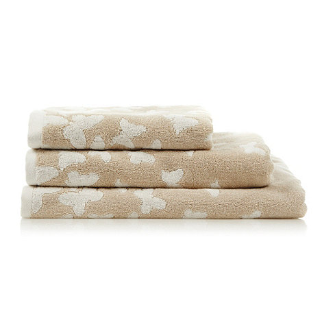 At home with Ashley Thomas - Beige butterfly print cotton towels