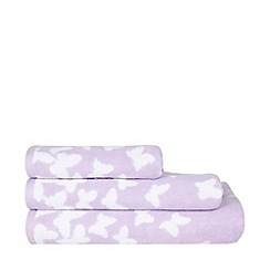 At home with Ashley Thomas - Lilac butterfly print cotton towels