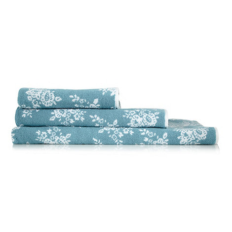 At home with Ashley Thomas - Blue floral print cotton towels