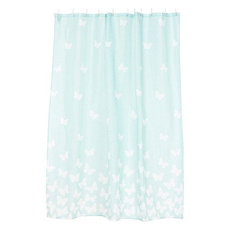 At home with Ashley Thomas - Pale green butterflies shower curtain