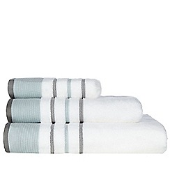 Debenhams - White tonal striped cotton towels