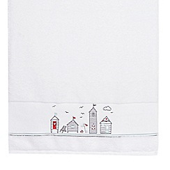 Debenhams - White embroidered beach huts cotton towels