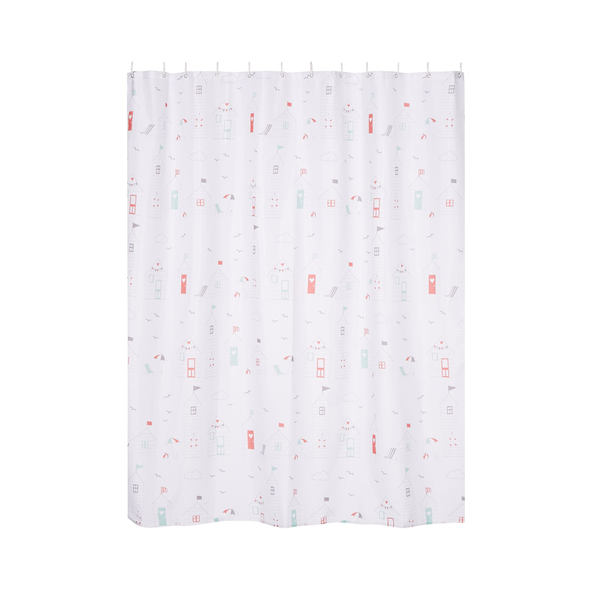 Home Collection White Beach Hut Seaside Shower Curtain