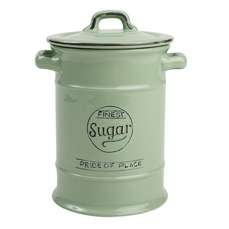 T&G Woodware - Ceramic pale green +Pride of Place+ sugar jar