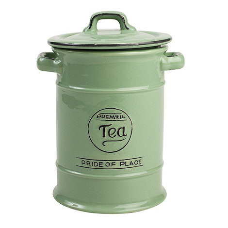 T&G Woodware - Ceramic pale green +Pride of Place+ tea jar
