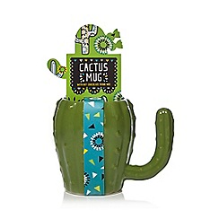 Debenhams - Cactus Mug With Hot Chocolate Drink Mix - 350g