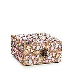 Debenhams - Multi-coloured stone trinket box with milk and white chocolates - 49g