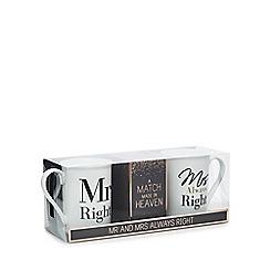 Debenhams - White 'Mr Right' And 'Mrs Always Right' Print Mugs And Roast Coffee Set