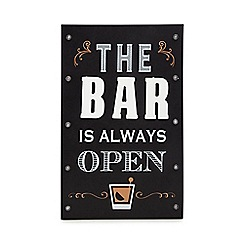 Debenhams - Black 'The Bar Is Always Open' Light Up Sign